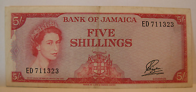 Jamaica 1960 (1961) 5 Shillings Note P49