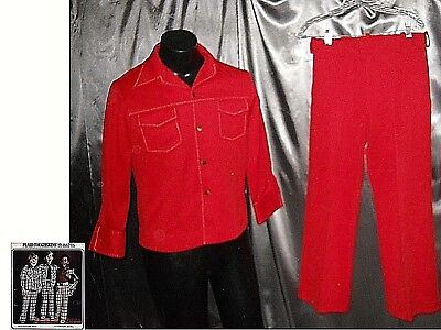 sz 16-18 70s Boys polyester red leisure suit jacket & pants 30x27 VTG 1970s  EUC