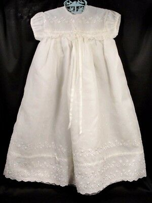Vintage 60s INFANT BABY CHRISTENING GOWN nylon eyelet lace overlay Dress