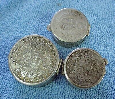 3 Vintage 89 grams  total Silver 925 Pill Snuff box with PERU Silver Coin Lids