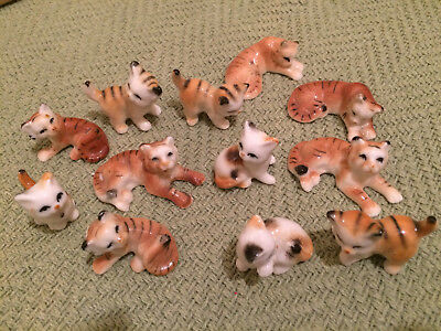 """Vtg Lot Of 12 Small Cats Kittens Figurines Brown Tabby Calico 1.5-2"""""""
