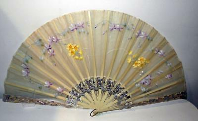 "Antique Vintage Stunning Large 13.5"" Fan Hand Painted With Flowers"