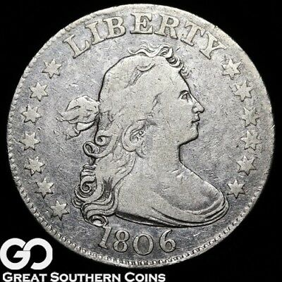 1806 Draped Bust Quarter, Very Scarce FINE+ Early Type, ** Free Shipping!