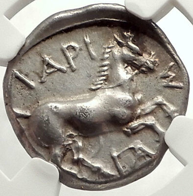 LARISSA in THESSALY 420BC Bull Wrestling Hero Horse Silver Greek Coin NGC i67610