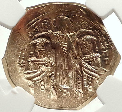 ANDRONICUS II & MICHAEL IX Mary Christ Ancient Gold Byzantine Coin NGC i67611