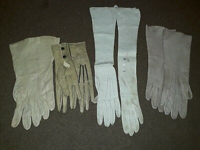 4 Pairs Vintage fine leather gloves