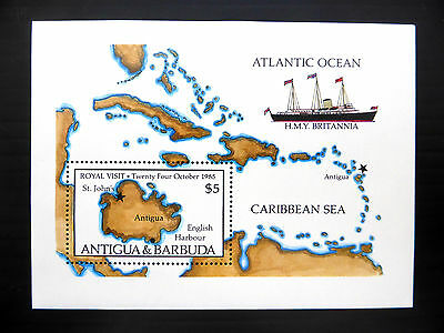 ANTIGUA Wholesale 1985 Royal Visit Ship/Map M/Sheet x 50 U/M SALE PRICE FP1174
