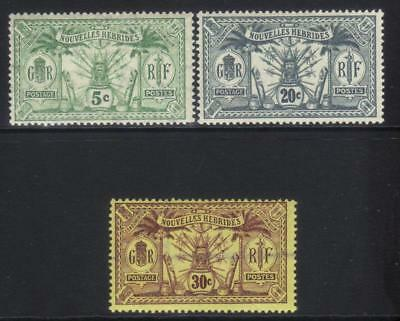 New Hebrides 1913 French 3 Mh Values