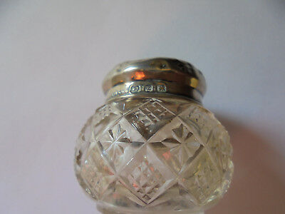 1899 Victorian Silver Topped Floral/lattice  Effect Perfume Jar, G/condition.
