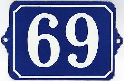 Large old blue French house number 69 door gate plate plaque enamel metal sign