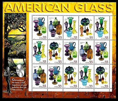 1999 - AMERICAN GLASS - #3325 Full Mint -MNH- Sheet of 20 Postage Stamps