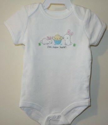 New Gymboree I'm New Here Bunnies & Chicks One Piece Shirt Sz 3-6M ~ Easter