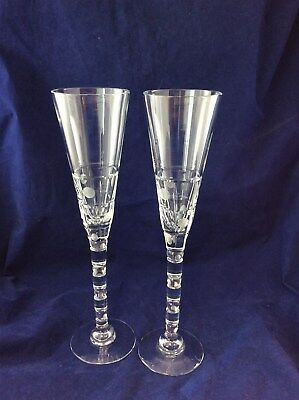 Royal Brierley Pair of Crystal Tall Champagne Flute in Original Presentation Box