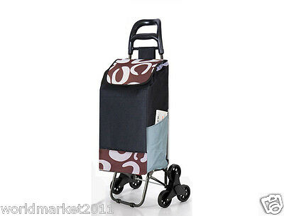 Convenient Brown Pattern Six-Tire Collapsible Shopping Luggage Trolleys