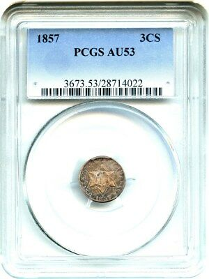 1857 3cS PCGS AU53 - 3-Cent Silver - Great Type Coin