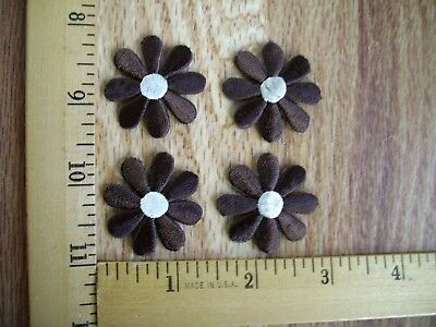 Lot Of 4 Brown Daisy Flower Iron On Patches