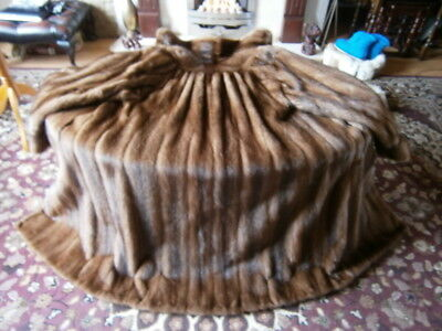 """Gorgeous vtg 47"""" long SABLE HUE real mink swingback coat gathered pelts, gt cond"""
