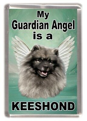 "Keeshond Dog Fridge Magnet ""My Guardian Angel is a KEESHOND"" by Starprint"