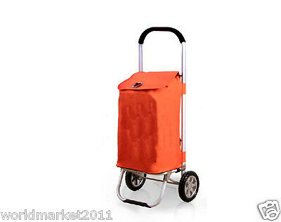 %H Convenient Orange Pattern Two Wheels Collapsible Shopping Luggage Trolleys