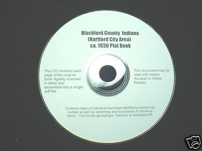 CD ~ ca.1930 Blackford County Indiana Plat Map Atlas