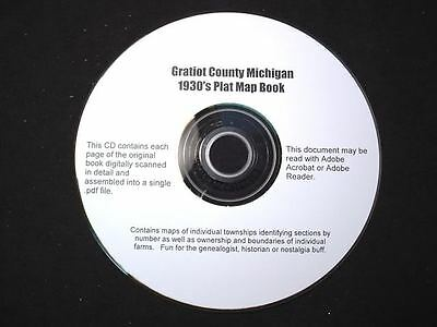CD ~ 1930's Gratiot County Michigan Plat Map Book