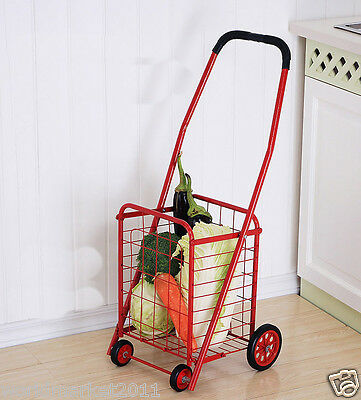 %H New Convenient Red Iron Basket Four Wheels Shopping Luggage Trolleys