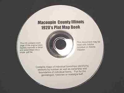 CD ~ 1920's Macoupin County Illinois Plat Map Atlas
