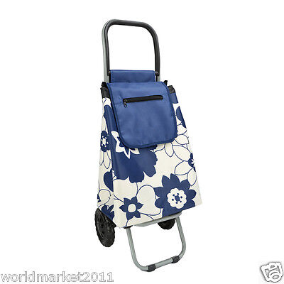 Convenient Blue Flower Pattern Two Wheels Collapsible Shopping Luggage Trolleys