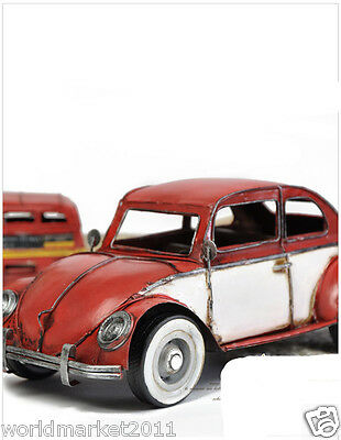 Retro L31*W13.5*H12CM Iron Red Mini Beatles Car Model /Handiwork Decorations