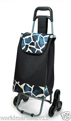 New Convenient Blue Stone Pattern Six-Tire Collapsible Shopping Luggage Trolleys
