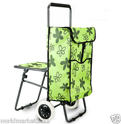 Green Flower Chair Two Wheels Convenient Collapsible Shopping Luggage Trolleys