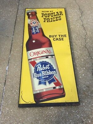 Vintage Original PABST Blue Ribbon Beer Large Bottle Metal Advertising Sign 60""