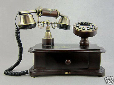 New Fasion European Style Brown Resin + Solid wood telep Antique Telephone