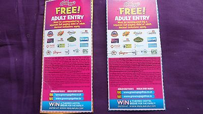 2 x FREE ADULT ENTRY TICKETS /LONDON EYE/ALTON TOWERS,/THORPE PARK, LEGOLAND,ETC