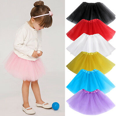 Girls Elastic Waist Multi Layers Tulle Puffy Skirt Tutu Princess Dress Striking
