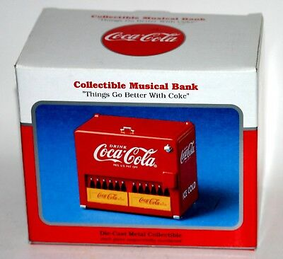 Coca-Cola Die-Cast Metal Musical Bank 1997 Vending Machine Cooler New