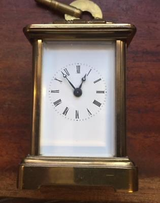 Antique miniature brass time only carriage clock   Working