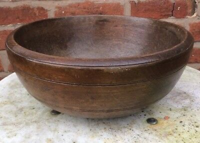 "ANTIQUE LARGE DARK WOODEN TURNED BOWL APPROX 14"" x 6"" TALL"