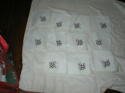 11 Brand New Vintage Ladies Handkerchiefs Hand Rolled 100% Cotton Violet