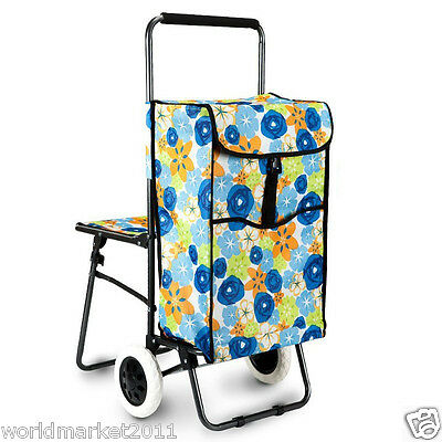 Blue Flower Chair Two Wheels Convenient Collapsible Shopping Luggage Trolleys