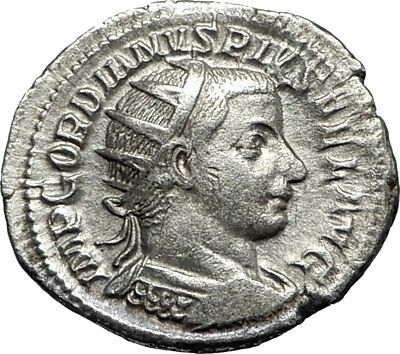 GORDIAN III 238AD Silver Authentic Genuine Ancient Roman Coin PAX i67328