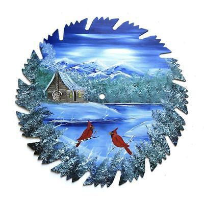 Hand Painted Saw Blade Art  Mountain Winter Log Cabin and Cardinals 2