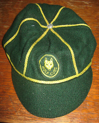 Scouts Canada Wolf Cubs WOOL Green and Yellow Baseball Cap Size Medium