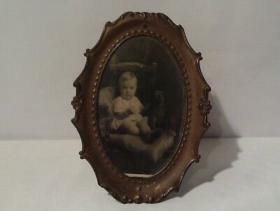 Vintage Copper Coloured Metal Photo Frame With Photo
