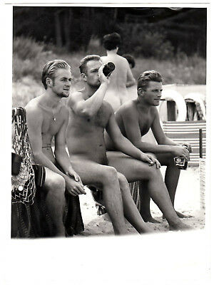 "Nudism NUDE BEACH GUYS / NACKTE STRAND KERLE * Vintage 60s STEGE Photo ""L"""