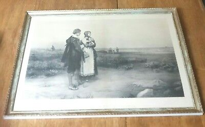 Authentic Early 1900's Return Of The Mayflower Engraveing W/ Appraisal Antique