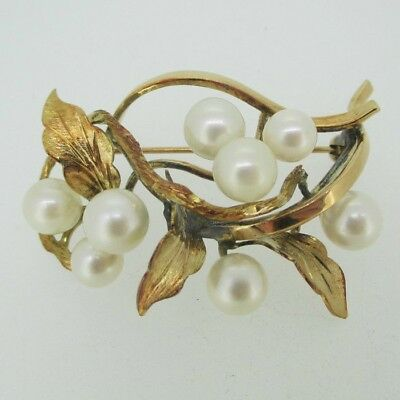 Vintage 14k Yellow Gold Pearl Leaf Brooch Pin