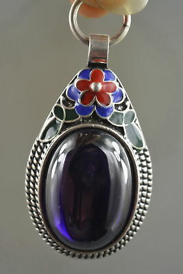 Fine Collectable Handwork  Miao Silver Carve Flower Inlay Crystal Lucky Pendant