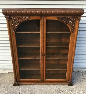 Beautiful Antique Carved Oak 2 Door Bookcase Cabinet Circa 1910
