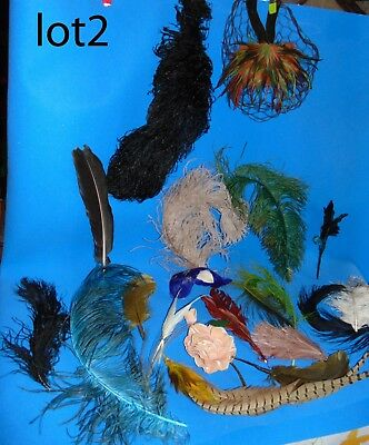 Lot of Antique Feathers Plume Millinery Hat Black Blue red Maroon Green violet +